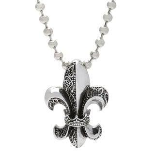 Spikes 316L Stainless Steel Royal Fleur De Lis Pendant Necklace