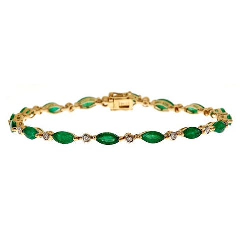 Anika and August 14k Yellow Gold 1/4ct Diamond and Emerald Bracelet (G-H, I1-I2)