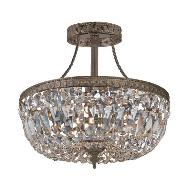 crystorama richmond collection 3light english bronze crystal semiflush pendant - Semi Flush Mount Lighting