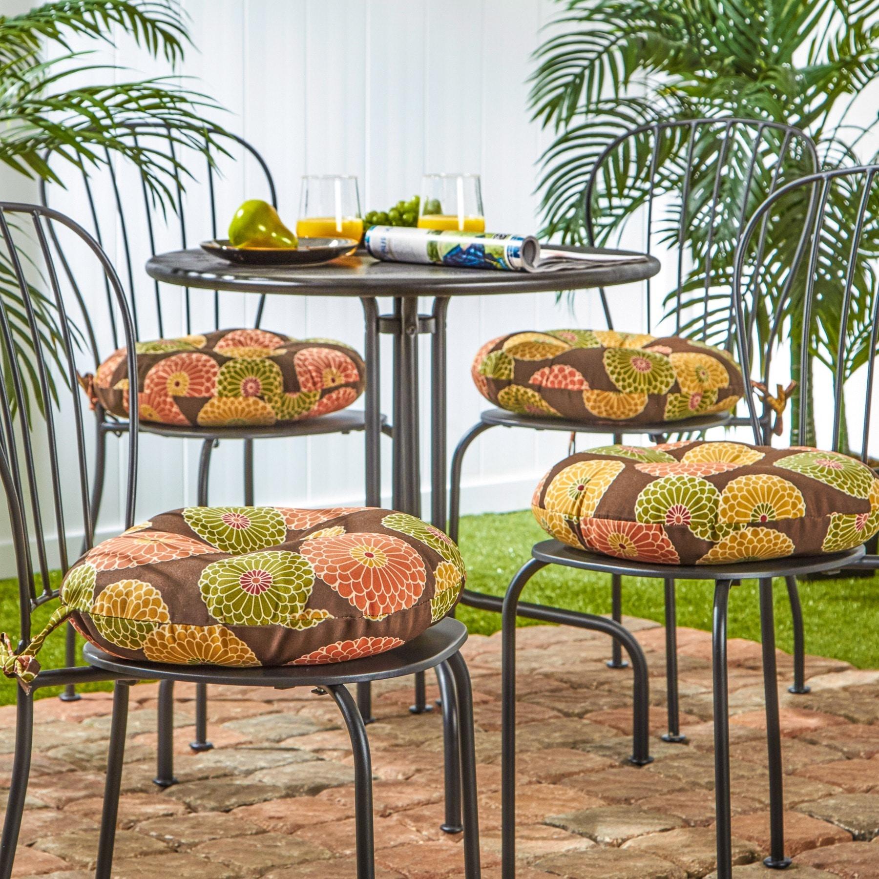 15 inch Round Outdoor Bistro Chair Cushion Set of 4