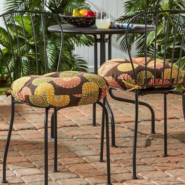 Good 18 Inch Round Contemporary Outdoor Bistro Chair Cushion (Set Of 2)