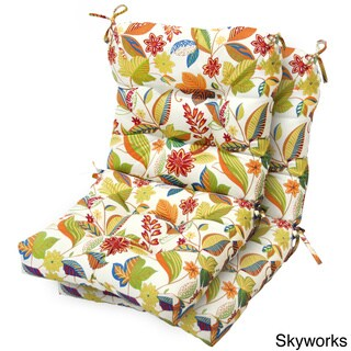 Outdoor Seat/ Back Tie-on Chair Cushions (Set of 2)