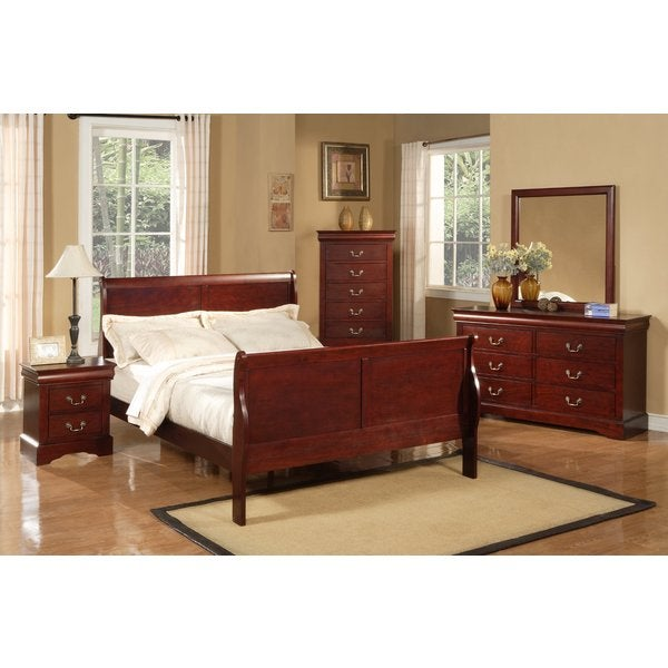 Attractive Alpine Furniture Louis Philippe II 4 Piece Bedroom Set   Cherry
