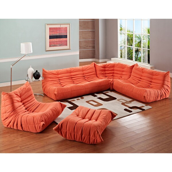 Waverunner Orange 5 Piece Modular Sectional Sofa Set