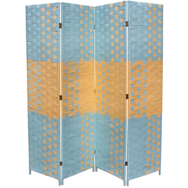 ORE International Hand-crafted 4-panel Beach Blue/ Natura...