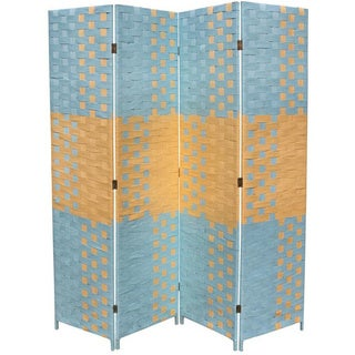 Hand-crafted 4-panel Beach Blue/ Natural Paper Straw Weave Screen