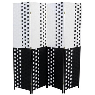 Hand-crafted 4-panel Black/ White Paper Straw Weave Screen