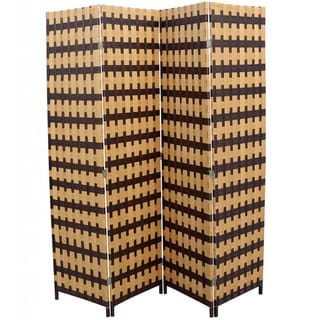Hand-crafted 4-panel Brown/ Natural Paper Straw Weave Screen