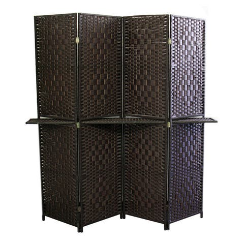Hand-crafted 4-panel Espresso Brown Paper Straw Weave Screen