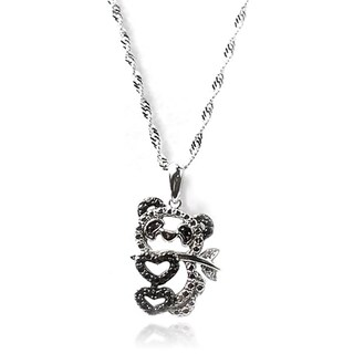 MP De Buman Sterling Silver Black Diamond Panda Necklace