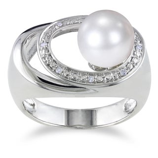 Miadora Sterling Silver Pearl and Diamond Accent Ring (9-9.5 mm)