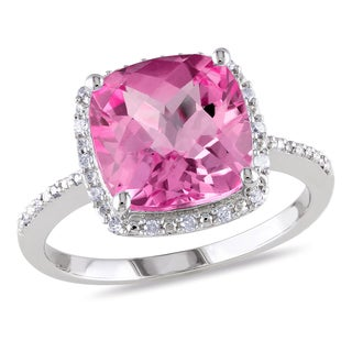 Miadora Sterling Silver Cushion-cut Created Pink Sapphire and 1/10ct TDW Diamond Cocktail Halo Ring (G-H, I2-I3)