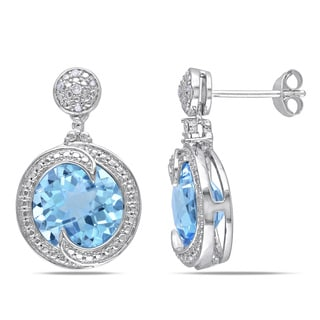 Miadora Sterling Silver 8 1/2ct TGW Blue Topaz and Diamond Dangle Earrings