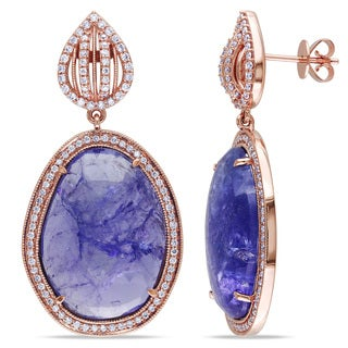 Miadora Signature Collection 14k Rose Gold 28ct TGW Tanzanite 7/8ct TDW Diamond Earrings (G-H, SI1-SI2)