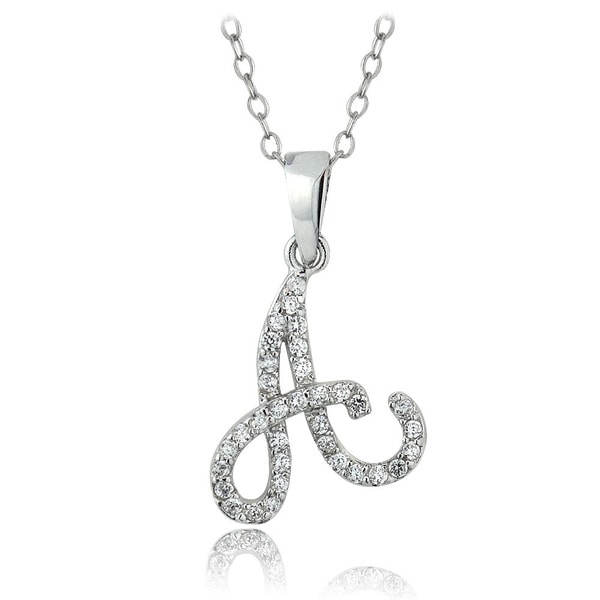 Shop icz stonez sterling silver cubic zirconia initial necklace on icz stonez sterling silver cubic zirconia initial necklace aloadofball Choice Image