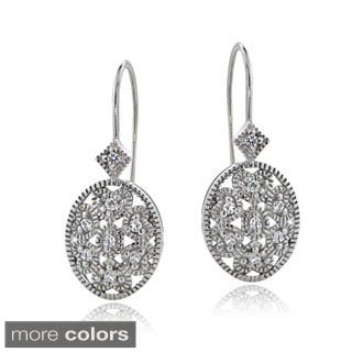 Icz Stonez Silver or Gold Over Silver Cubic Zirconia Filigree Oval Leverback Earrings