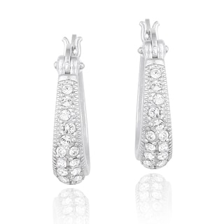 Crystal Ice Silvertone Crystal Hoop Earrings with Swarovski Elements