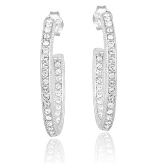 Crystal Ice Silvertone Crystal Inside Out J-Hoop Earrings