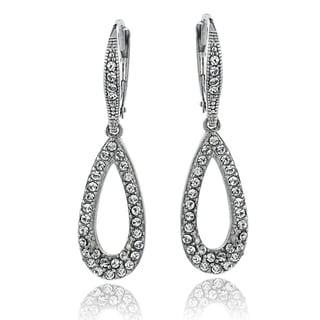 Crystal Ice Silvertone Crystal Dangle Teardrop Earrings with Swarovski Elements