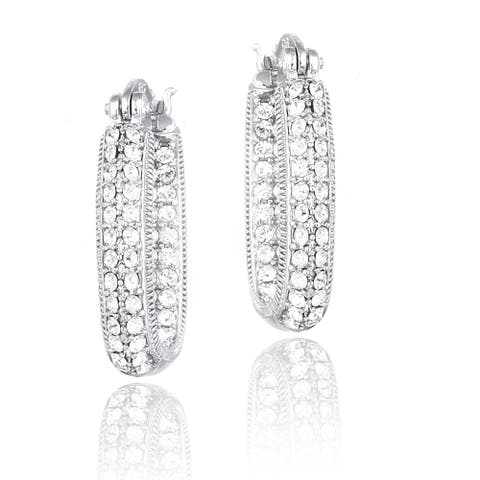Crystal Ice Silvertone Crystal Inside Out Square Hoop Earrings with Swarovski Elements