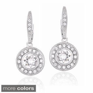 Crystal Ice Silvertone Crystal Halo Earrings with Swarovski Elements