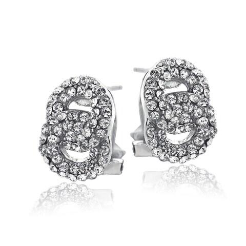 Crystal Ice Silvertone Crystal Interlocking Circles Omega Earrings with Swarovski Elements
