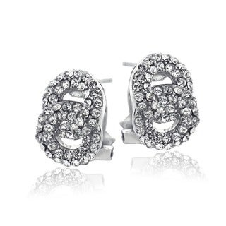Crystal Ice Silvertone Crystal Interlocking Circles Omega Earrings with Swarovski Elements