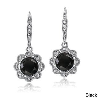 Crystal Ice Silvertone Crystal Halo Flower Earrings with Swarovski Elements (2 options available)
