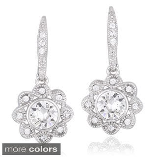 Crystal Ice Silvertone Crystal Halo Flower Earrings with Swarovski Elements