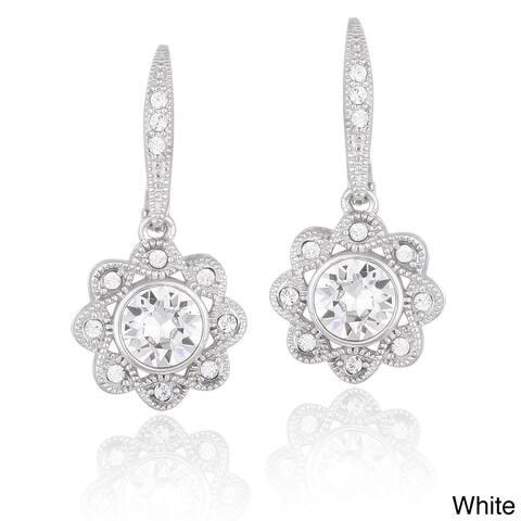 Crystal Ice Silvertone Crystal Halo Flower Earrings with Swarovski Elements