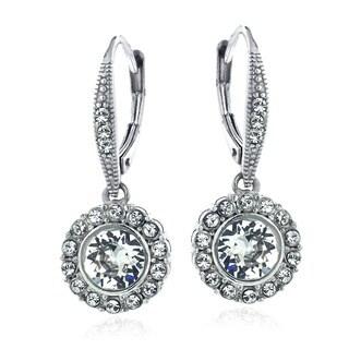 Crystal Ice Silvertone Crystal Halo Earrings