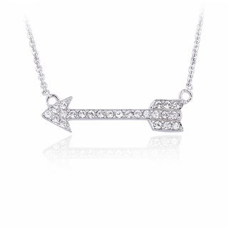 Crystal Ice Silvertone Crystal Arrow Necklace with Swarovski Elements