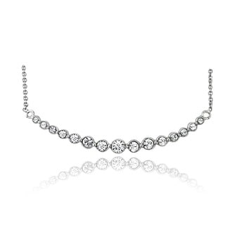 Crystal Ice Silvertone Crystal Graduated Arch Necklace