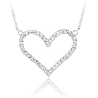Crystal Ice Silvertone Crystal Heart Necklace with Swarovski Elements