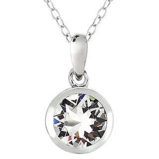Crystal Ice Silvertone Crystal Solitaire Necklace with Swarovski Elements
