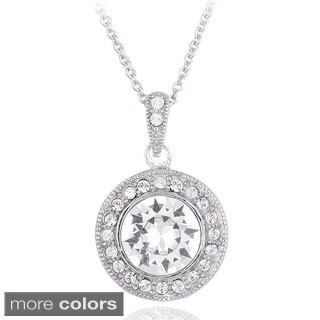 Crystal Ice Silvertone Crystal Halo Necklace with Swarovski Elements