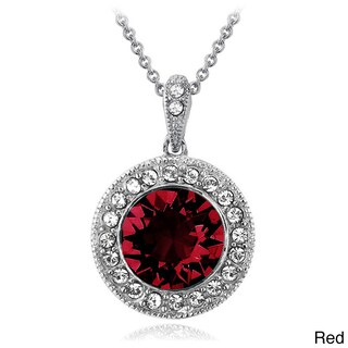 Crystal Ice Silvertone Crystal Halo Necklace with Swarovski Elements (4 options available)