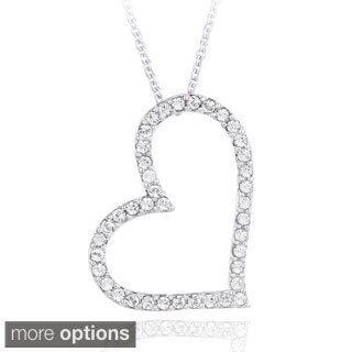 Crystal Ice Brass Crystal Heart Pendant Necklace with Swarvoski Elements (Option: Rose)