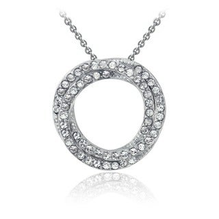 Crystal Ice Silvertone Crystal Double Eternity Pendant Necklace with Swarovski Elements