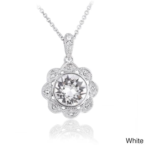 Crystal Ice Silver tone European Crystal Halo Flower Pendant Necklace
