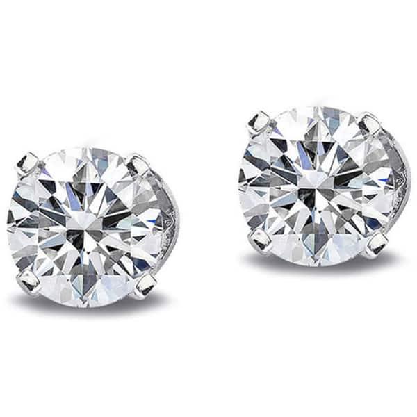 5Ct Round Cut Moissanite Diamond Solitaire Stud Earrings 14K White Gold Finish