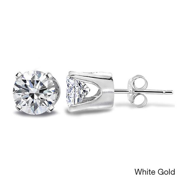 14k White or Yellow Gold 1/2ct TDW Diamond Round Stud Earrings