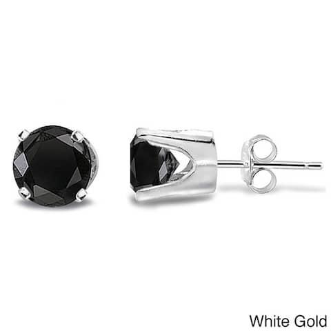 DB Designs 14k Gold 1/4ct TDW Black Diamond Round Stud Earrings