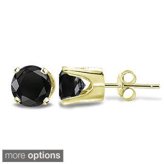 DB Designs 14k Gold 1/2ct TDW Black Diamond Round Stud Earrings