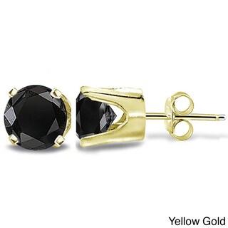 14k Gold 2ct TDW Black Diamond Round Stud Earrings (2 options available)