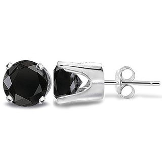 14k Gold 2ct TDW Black Diamond Round Stud Earrings (I2-I3)