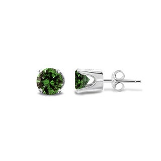 DB Designs 14k Gold 1/4ct TDW Green Diamond Round Stud Earrings (I2-I3)