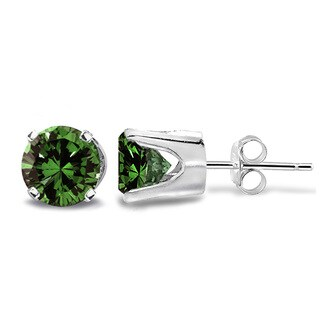 DB Designs 14k Gold 1/2ct TDW Green Diamond Round Stud Earrings (I2-I3)