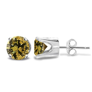 DB Designs 14k Gold 1/2ct TDW Yellow Diamond Round Stud Earrings