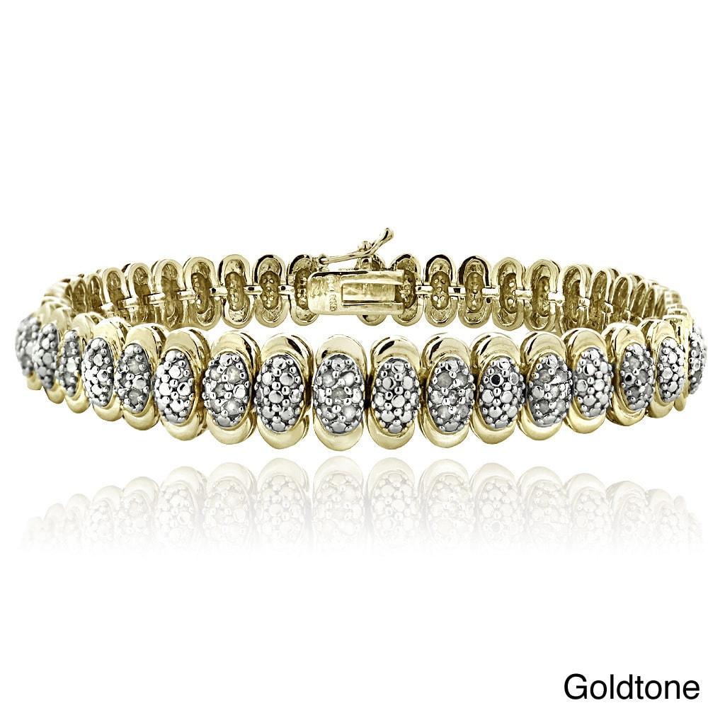 Gold Tone 1 Ct Diamond Oval Tennis Bracelet